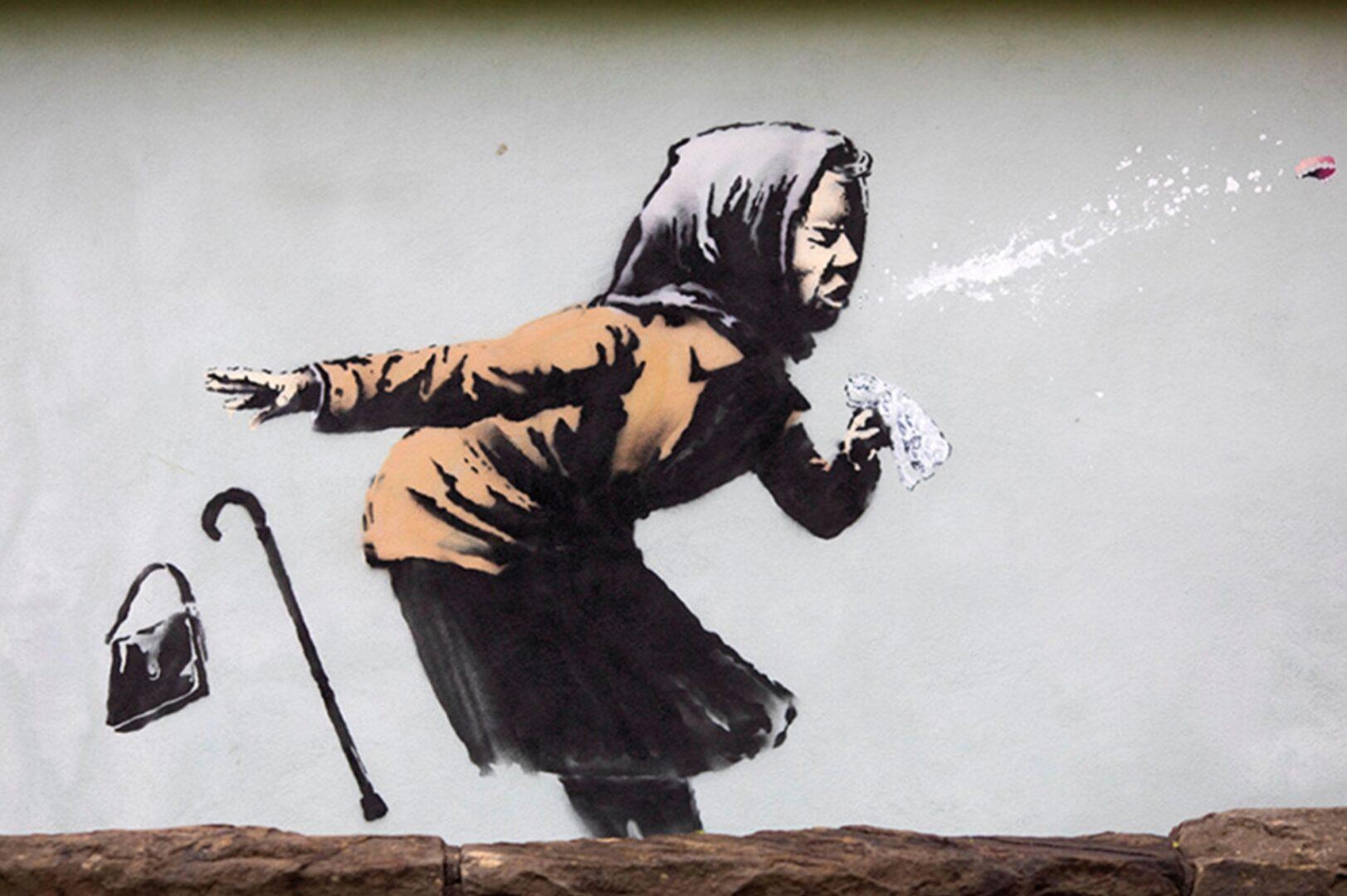 Banksy street art on side of english home
